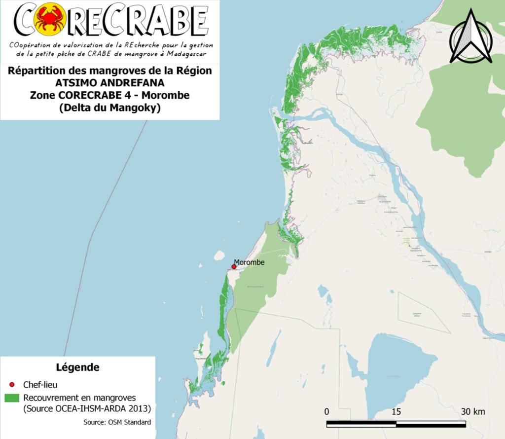 E - Répartition des mangroves de la région ATSIMO ANDREFANA - Delta du Mangoky