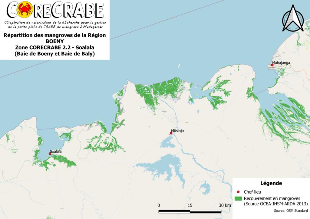 B - Répartition des mangroves de la région BOENY - Soalala